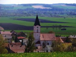 bavaria, germany, church, village, buildings, landscape