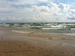 beach, water, lake, shore, sand, waves, lake erie, wave