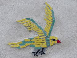 bird, mosaic, colorful, tinker, decoration, mural
