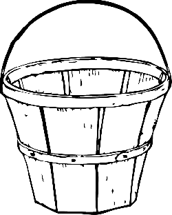 black, apple, apples, white, cartoon, empty, bucket
