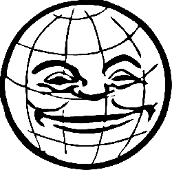black, globe, world, face, white, lines, grinning, with