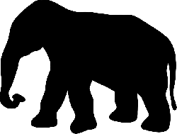 black, large, africa, silhouette, elephant, trunk