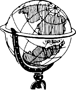 black, outline, globe, earth, office, white