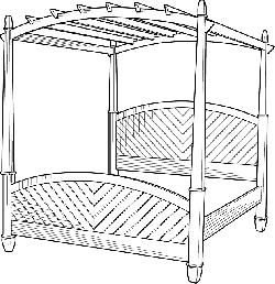 black, outline, room, white, cartoon, bed, poster, free