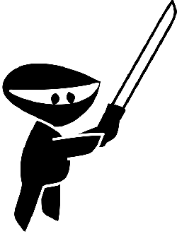 black, silhouette, cartoon, little, ninja, free, cute