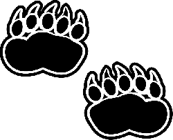 black, silhouette, footprints, bear, claws, paws, paw