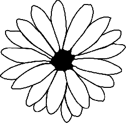 black, simple, outline, drawing, plants, flower, white