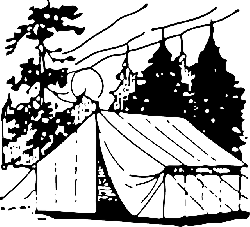 black, white, cartoon, free, camping, woods, tent, camp