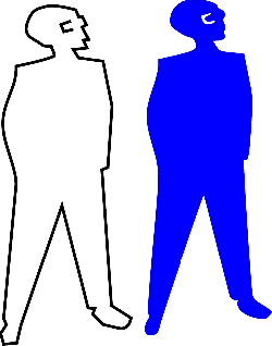 blue, outline, man, silhouette, hans, pocket, hands