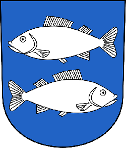 blue, shield, opposite, fish, coat, arms, facing, face