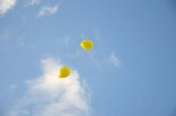 blue sky, balloons, two, air, colorful, sky, yellow