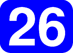 blue, white, number, rounded, rectangle, 26, round