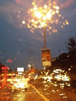blurry vision, blur, night, drive, rain, rainy
