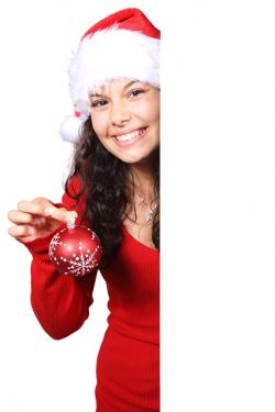 board, christmas, claus, female, bauble, girl, happy