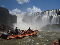 boat, falls, water, argentina