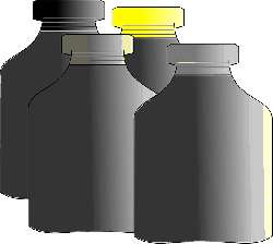 bottle, colors, ink, recipient, black, yellow, red