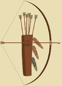 bow, arrows, quiver, indian, feathers