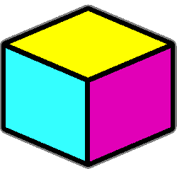 box, blue, office, yellow, purple, cube, stuff