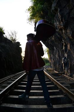 boy, walk, guitarist, guitar, mariachi, rail road, rail