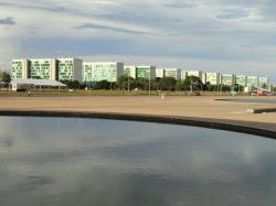 brasilia, brazil, water, sky, clouds, buildings