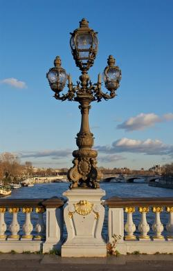 bridge, river, water, paris, france, sky, clouds, city