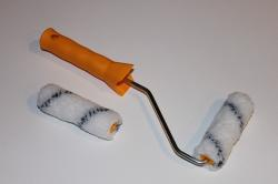 brush, paint, plastic, red, roller, set, wool, tools