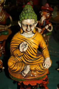buddha, green, ceramic, art, yellow, buddhism, gautam