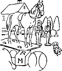 building, outline, horse, trees, toys, tree, toy