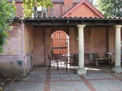 building, table, chairs, old, pillars
