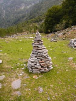cairn, stone tower, stone, meadow, hike