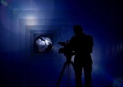 cameraman, film, recording, background, bokeh, light