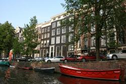 canal, amsterdam, netherlands, water, dory, boat, city