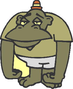 cartoon, ape, clothing, hat, sad, animal