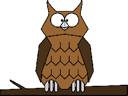 cartoon, bird, owl, branch, feathers, perched