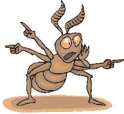 cartoon, danger, direction, ant, pointing, warning