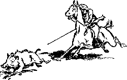cartoon, horse, wild, cowboy, hunt, boar, hunting