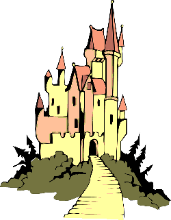 castle, royal, path, towers, fairytale