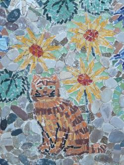 cat, flower, flowers, sun flower, mosaic, yellow