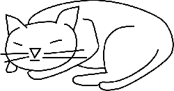 cat, simple, drawing, sleeping, kitten, pet, animal