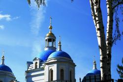 cathedral, church, white and light blue walls, domes