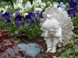 cemetery, grave, angel, heart, old cemetery, pansy