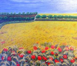 cereals, field, painting, image, art, paint, color