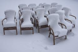 chairs, beer garden, snowy, winter, snow, snow pads