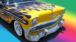chevrolet, chevy, 1956, 56, flames, auto, car