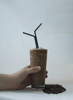 chocolate, coffee, frappe, two, black, straws, glass
