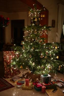 christmas, christmas tree, gifts, made, decorated