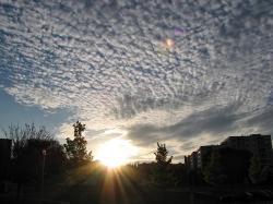cirrocumulus, cirrus, clouds, sunset, sundown, sky