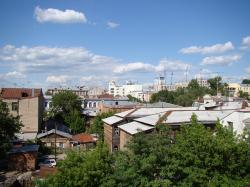 city, at home, roof, top, trees, sky, clouds, day