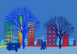 city, trees, city view, animated, traffic, vehicle