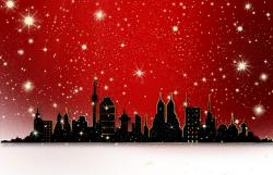 city, view, digital, red, white, snow, silhouette